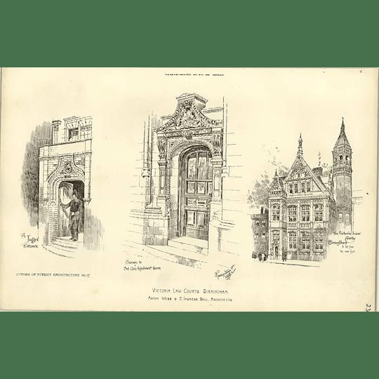 1890, Victoria Law Courts Birmingham, Judges Entrance, Refreshment Room
