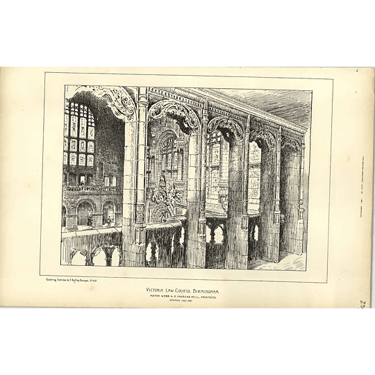 1891, Victoria Law Courts, Birmingham Raffles Davison Sketch