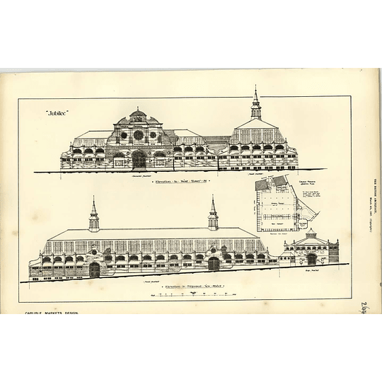 1887, Carlisle Markets Design, Elevations, Herbert Wills