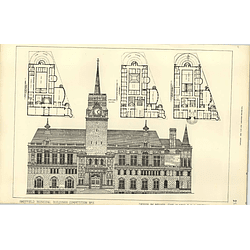 1890, Sheffield Municipal Buildings Competition Design Slater Statham