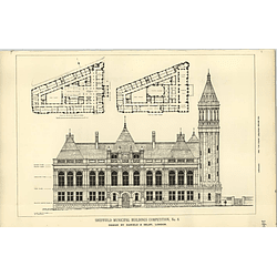 1890, Sheffield Municipal Buildings Competition Design Daniels Selby