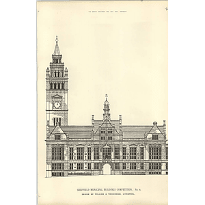 1890, Sheffield Municipal Buildings Competition Design Willink Thicknesse