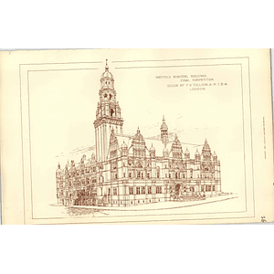 1890, Sheffield Municipal Buildings Competition Design Fh Tulloch