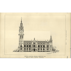 1890, Sheffield Municipal Buildings Competition Design Booth And Chadwick