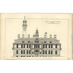 1890, Sheffield Municipal Buildings Competition Design Pj Marvin