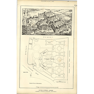 1888, Victoria Infirmary Glasgow, Birds Eye View, Plan