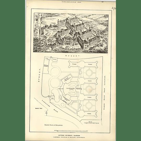 1888, Victoria Infirmary Glasgow, Birds Eye View, Plan