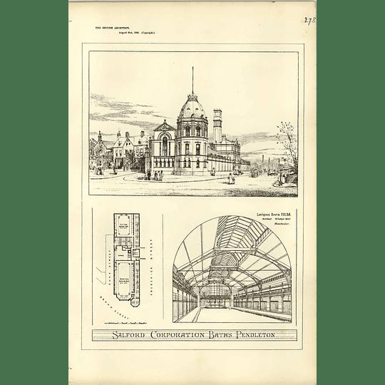 1885, Salford Corporation Baths Pendleton, Design Plan