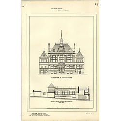 1886, Fulham Vestry Hall Elevation, Section, Wallis Baldwin