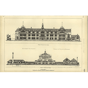 1891, Battersea Polytechnic Front And Back Elevations Henman Harrison