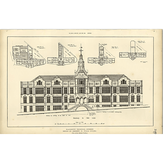 1888, Blackburn Technical Schools Designed By Herbert Wills, Plans