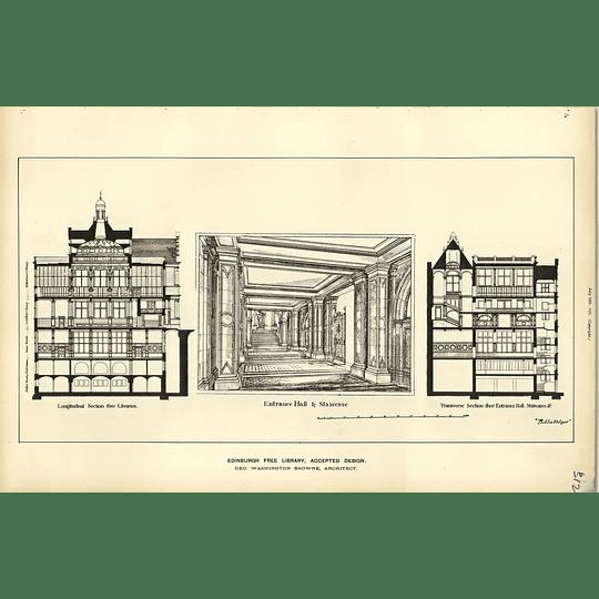1887, Edinburgh Free Library Accepted Design Washington Browne