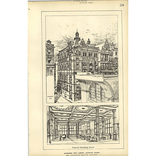 1887, Edinburgh Free Library Perspective View, General Reading Room