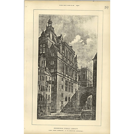 1889, Edinburgh Public Library View From Cowgate, Browne Architect