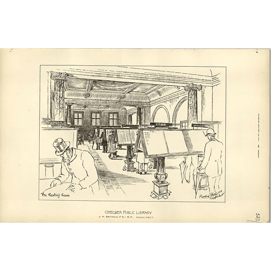 1892, Chelsea Public Library Reading Room, Jm Brydon