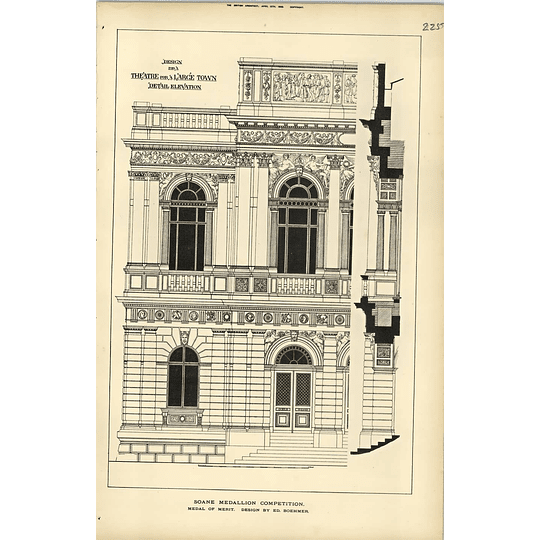1889, Design For A Theatre In A Large Town Design Ed Boehmer