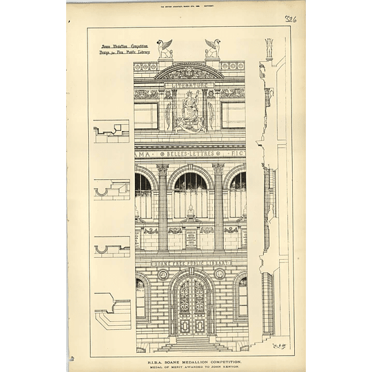 1889, Design For A Free Library, John Kenyon
