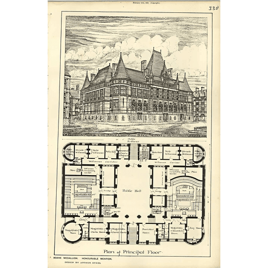 1889, Soane Medallion Design For Police Courts Arthur Sykes