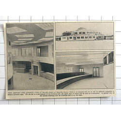 1936 Brand-new Airport Gatwick Surrey, Booking Hall, Customs, Central Buildings