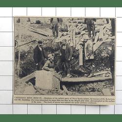 1936 Canadian Mine Rescue, Nova Scotia, Dr Robertson, Mr Scadding, Magill Mine