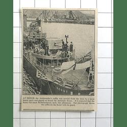 1936 Ambassadors Coffin Loaded Onto Destroyer Scout To Reach Wilhelmshaven