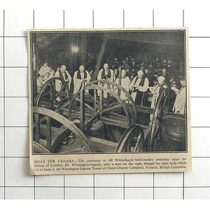 1936 Whitechapel Bell Foundry Ceremony Blessing Bells For Canada