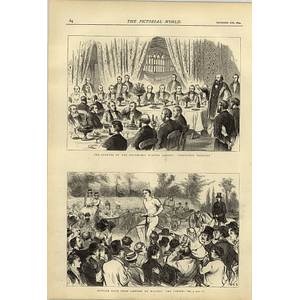 1874 Bicycle Race From London To Walton Southport Winter Garden Banquet