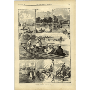 1874 Pleasant Summer Weather Sketches Boating On Thames