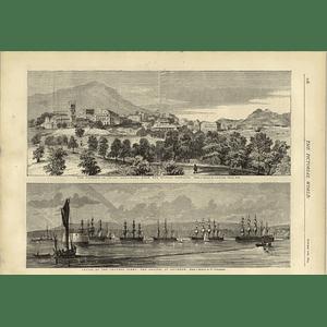 1874 China Typhoon Hong Kong From Murray Barracks Regents Park Explosion
