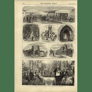 1874 Opening Hythe And Sandgate Railway Lovers Walk Saltwood Castle Aj Otway