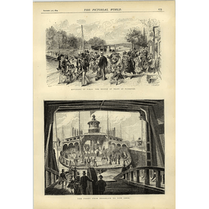 1874 Paris Bridge Of Boats Suresne Ferry From Brooklyn To New York