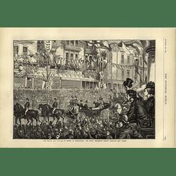 1874 Royal Visit To Birmingham Procession Along New Street