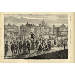 1874 A Fish Auction At Dieppe From Picture Hj Montague German Emigrant Ship
