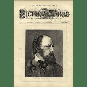1874 Portrait Of Alfred Tennyson Poet Laureate
