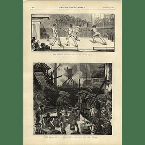 1874 Explosion St Denis Paris M Poirier Dyeworks Quarter Staff Fighting St James's Hall