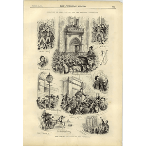 1874 Election Lord Rector Glasgow University Pen And Ink Sketches