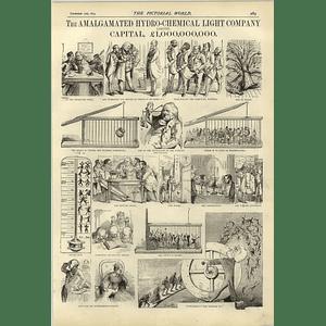 1874 Amalgamated Hydro-chemical Light Company Capital 1 Billion Superb Cartoons