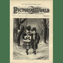 1874 Charming Artwork Two Young Children Comforting Poor Birdie