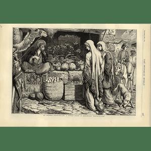 1874 Street Scene In Jerusalem An Eastern Fruit Seller Wj Webb