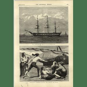 1874 Cospatrick Sketch Gravesend Catalonian Fishermen Knife Game