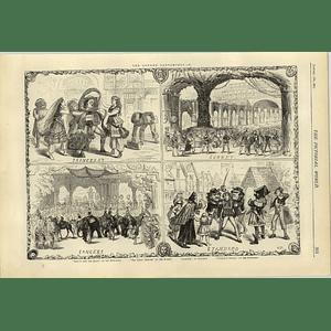 1874 London Pantomimes 40 Thieves Robinson Crusoe Aladdin Elephants