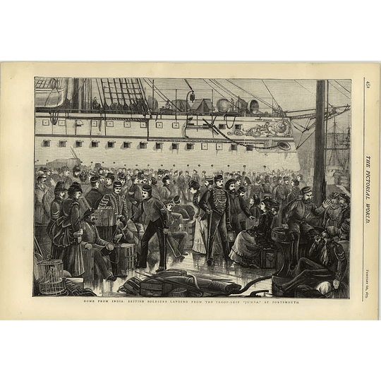 1874 British Soldiers Home From India Troopship Jumna