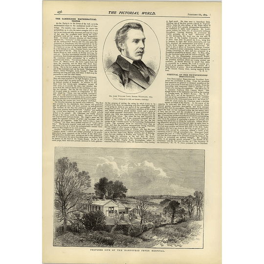 1874 Cambridge Math John Lord Senior Wrangler Hamstead Fever Hospital