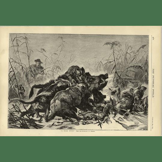 1874 Artwork Of A Boar Hunt From Picture C F Deiker