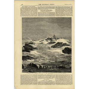 1874 Wreck And Rescue Loss Of The Wild Wave Swanage Bay Dorset