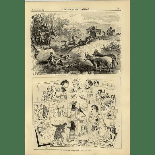 1874 Foxhunting Astonished Natives Phiz Valentine Vagaries Caldecott