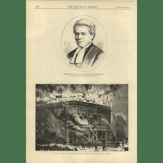 1874 Theatre Royal Destruction Edinburgh Richard Garth Qc Chief Judge Bombay