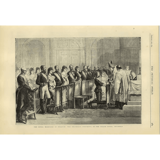 1874 Religious Ceremony Palais Royal Brussels Royal Marriage