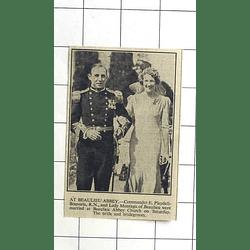 1936 Commander Pleydell Bouverie Weds Lady Montague At Beaulieu Abbey Church