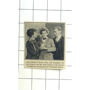 1936 Miss Anne Penhallow, Cyril Cusack And Fred Johnson New Play